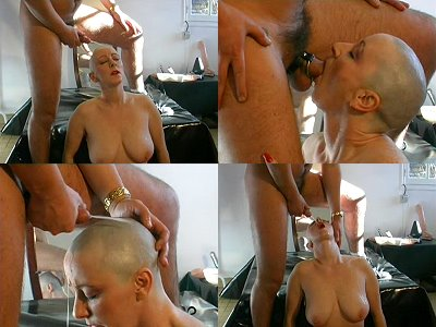 piss and cum on my shaved skull